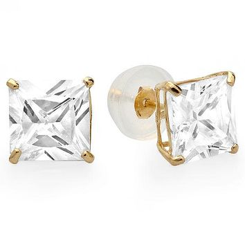 14k Yellow Gold CZ Stud Earrings Square Clear Princess Cut Basket Set Silicone