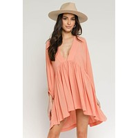Coastal Plunge Neck Dress (Coral)