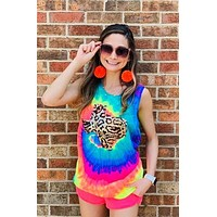 Tie Dye Tank Top with Leopard Sequin State