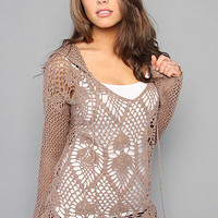 Karmaloop.com - Global Concrete Culture - The Pacifica Crochet Hoody in Taupe by Free People
