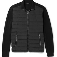 TOM FORD - Quilted Shell-Panelled Ribbed Wool Zip-Up Cardigan