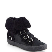Visby Shearling-Trimmed Suede Sneakers in Black