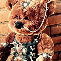 "Punk Teddy Bear - One - of - a - Kind Rocker Collection "" TOXIFIED Bear"" Genuine Leather Clad Premium Unique Gift"