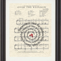 Somewhere Over The Rainbow, Art Print,Wizard Of OZ, Movie Art, Sheet Music, Spiral Song Lyrics, Classic Illustrations, Nursery, Child Room