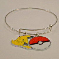 Gamer Gifts // Gifts for Her // Gamer Jewelry // Video Game Inspired Pikachu Pokeball Adjustable Bangle Bracelet