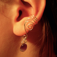 Pair of Silver Plated Ear Cuffs with Genuine by jhammerberg