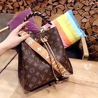 LV Embossed Letter Wide Shoulder Strap Women Shoulder Bag Bucket Bag Crossbody Bag