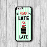 Cartoon It's Never Too LATE for CHOCOLATE iPhone 6 Cover, Sweet Mint Dessert iPhone 6 Plus, iPhone 5S, iPhone 4S Hard Case, Rubber Deco Gift