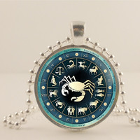 Cancer birth sign, Zodiac, Astrology glass and metal Pendant necklace Jewelry.