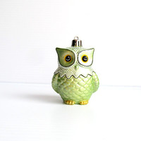 Owl Ornament Light Metallic Green and White Owl Ornament: Shatter Resistant Hand Painted plastic Owl Ornament Light Metallic Green and White