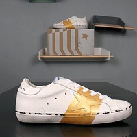 GOLDEN GOOSE GGDB SSTAR Superstar Gold White Leather Sneakers