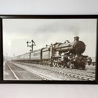 Vintage Reproduction 1937 Great Western Railway Castle-class No 4073 Caerphilly Castle Train Print Reading UK Framed Large 23x32 Train Decor