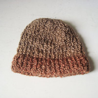 Brown Two Tone Hand Knit Hat, Fall Knit Cap, Winter Hat, Burnt Orange and Taupe Knit Beanie, Gift Ideas