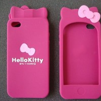 Hello Kitty Soft Silicone Case for iphone 4 -Hot Pink