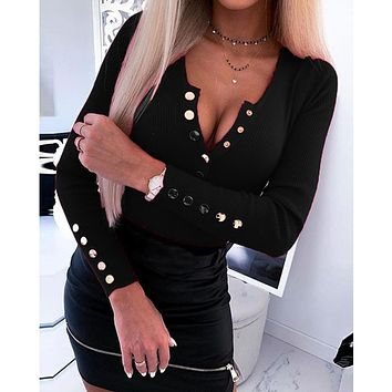 Brand New Women Long Sleeve Knitted Sweater Jumper Ladies Sexy Button V Neck Pullover Slim Tops T Shirt Spring Autumn Wear