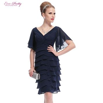 Blue Short Cocktail Dresses Ever Pretty Double V-neck Butterfly Sleeve Sexy 2017 HE03903 Plus Size Special Occasion Dresses