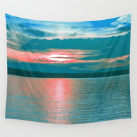 Sunset at Sea III Wall Tapestry by Aloke Design
