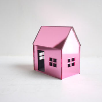 Bubblegum pink little house - mirrored pink miniature structure - rose colored geometric architecture
