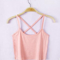 Pink Cross Cropped Racer Back Top