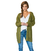 Army Green Long Open Front Pocket Cardigan