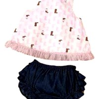 Mud Pie-Cowgirl Pinafore & Bloomer,  (9-12 Mth)