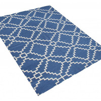Michael Anthony Furniture Hand Tufted 5x8 Jagged Patriot Blue and White New Zealand Blended Wool Rug