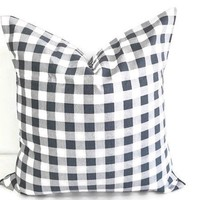 Gunmetal Grey & White Plaid Pillow cover