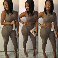 Two Piece Outfits Women Suede Bodycon Jumpsuit Sexy Cropped Rompers Womens Jumpsuit 2 Piece Set Women