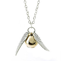 Snitch Gold Necklace Harry Potter And The Deathly Hallows Golden Snitch Necklace(1 Pc)