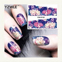 YZWLE 1 Sheet DIY Decals Nails Art Water Transfer Printing Stickers Accessories For Manicure Salon YZW-8150