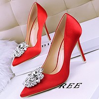 Rhinestone women's shoes thin heel high-heeled sexy slim thin mouth pointed shiny shiny rhinestone buckle single shoes red