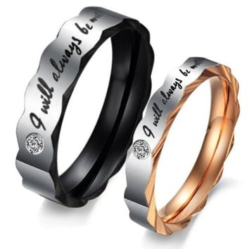 """(Male + Female)""""I will always be with you"""" W/ CZ Stone Faceted Edge 316 l Stainless Steel Titanium Wedding Band Anniversary/Engagement/Promise/Couple Ring Best Gift! (With Thanksgiving&Christmas Gift Box)[7651858438]"""