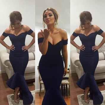 Navy Prom Party Dress Mermaid Style pst0488