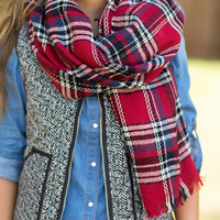 Cute & Cozy Plaid Scarf-Red