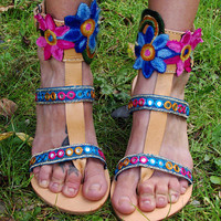 """Gladiator Sandals """"Shiva"""", Greek Leather Boho sandals, Strappy sandals, colorful hippie sandals, Indian mirror sandals, ethnic blue flats"""