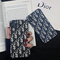 Dior CD Apple 11 mobile phone shell xs max hard shell 11promax tide brand iPhone7 embroidery 8P cloth surface X