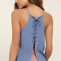 Laced Back Denim Blue Lace-Up Top