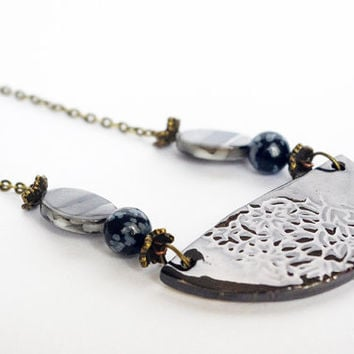 shiny black necklace , half moon ceramic necklace , Floral style jewelry , snowflake obsidian and pearl bead , French cottage chic jewelry