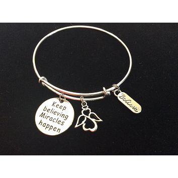 Keep Believing Miracles Happen Angel Charm on a Silver Adjustable Expandable Bangle Bracelet Trendy Handmade Gift