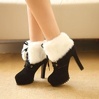 Womens Winter Boots High-heeled Fahsion Shoes Leather