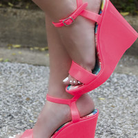 Save The Last Dance Hot Pink Jelly Wedge Sandals With Ankle Strap