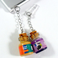 Peanut Butter and Jelly Jar Phone Charm Set, Best Friend's BFF Dust Plug or Cell Phone Strap, For iPhone or iPod, Cute :D