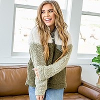 Olive, Cream and Camo Sherpa Pullover