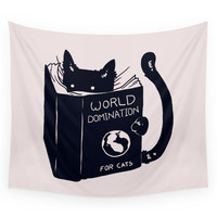 Society6 World Domination For Cats Wall Tapestry