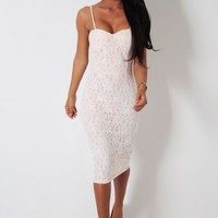Dreamgirl Nude and White Lace Overlay Midi Dress | Pink Boutique