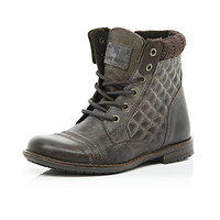 River Island Boys dark brown leather quilted boots