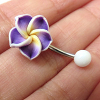 Purple Hawaiian Flower Plumeria Tropical Hibiscus Belly Button Ring