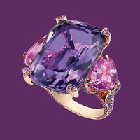 AMAZING 15.25CTW PURPLE EMERALD 925 STERLING SILVER ENGAGEMENT AND WEDDING RING