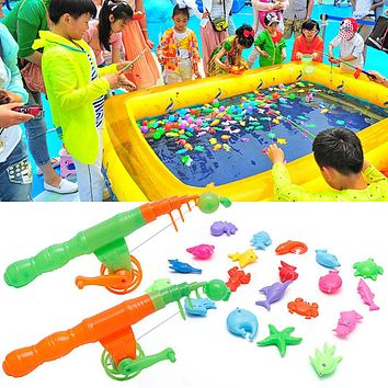 2+20 Magnetic Fishing Game Toy Rod Hook Catch Kids Bath Time Gift