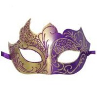 Purple and Gold Masquerade Mask with Gold Glitter Scrollwork